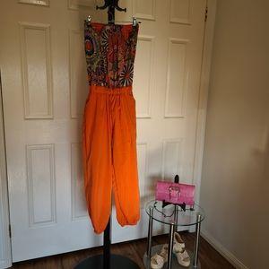 Strapless US 4 Orange Floral Maxi Jumpsuit | Floral Playsuit Romper Dress